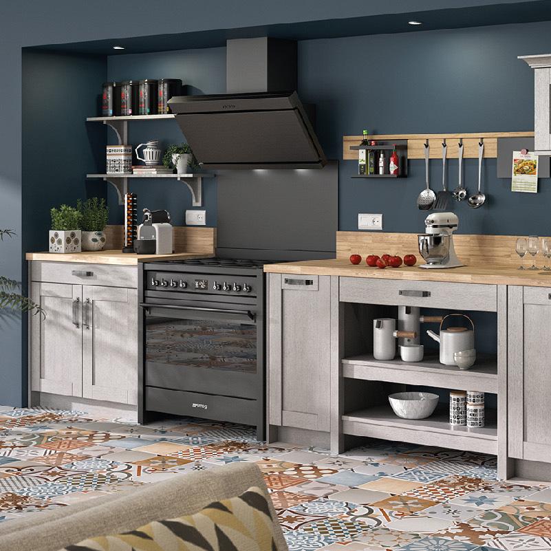 cuisine bleu canard et gris