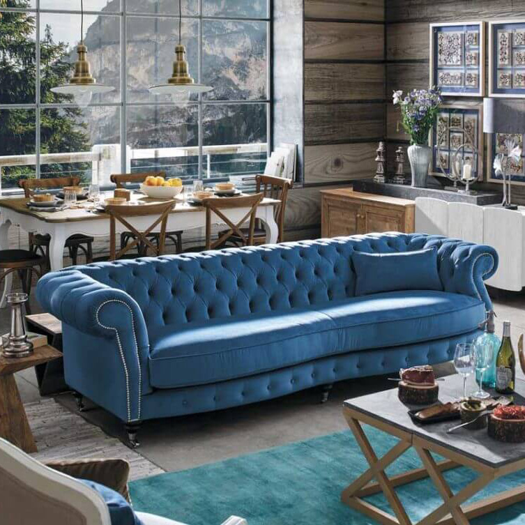 décoration salon de montagne bleu et bois