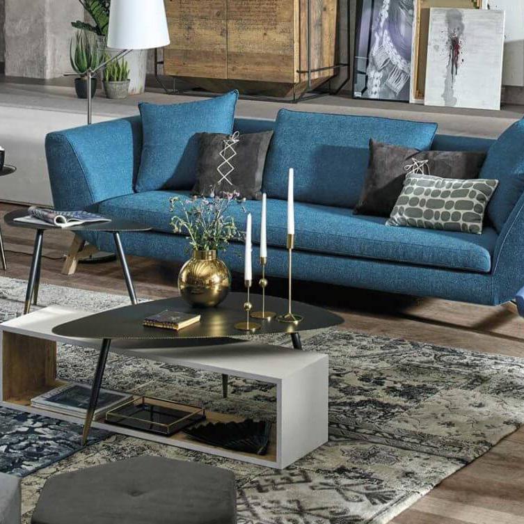 salon bleu et bois