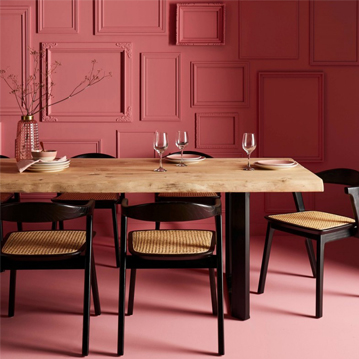salle à manger rose et bois